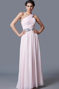 Vibrant Beaded Waist Pleated Long Chiffon Dress With One-shoulder