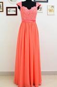 A-line Cap Sleeve Chiffon&Lace Dress
