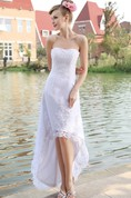 Organza High-Low Strapless Gown With Lace Appliques