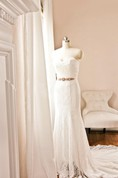 Strapless Sweetheart Neckline Laced Up Trumpet Lace Wedding Dress With Silver Rhinestone Sash