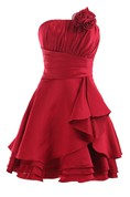 Pleated Strapless DressWith Layered Skirt and Flower