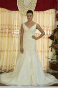 V-Neck Sleeveless Trumpet Wedding Dress With Beading and Deep-V Back