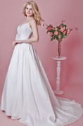 Modern Sweetheart Taffeta and Lace Gown With Spaghetti Straps and Flower