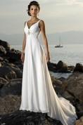 Empire V-neck Court Trains Sleeveless Chiffon Beach Wedding Dresses for Brides