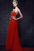 Flamboyant Strapless Chiffon Maxi Dress With Pleats and Beading