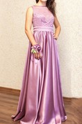 Purple Color Bridesmaid Long Cocktail With Bow Belt Dress