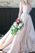 Strapless Taffeta A-Line Wedding Dress With Beading on Waist