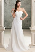Strapless Ruched Floor-Length Dress With Beaded Waist and Court Train
