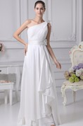 One-Shoulder Draped Floor-Length Dress with Broach and Ruched Top