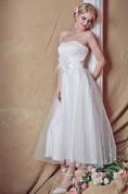 Exquisite Strapless Tea-length Country Wedding Dress