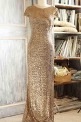 Scoop Cowl Cap Sleeve Dress With Sequins