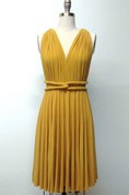 Mustard Yellow Short Infinity Convertible Formal Multiway Wrap Bridesmaid Toga Cocktail Evening Wedding Dress