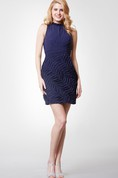 Illusion High Neck Form-fitted Short Chiffon Dress With Keyhole Back