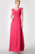 Cap-sleeved A-line Chiffon Gown With Low-v Back