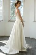 Elegant V-Neck Sleeveless Floor-Length A-Line Satin Wedding Dress