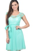 Cap-sleeved A-line Dress With Illusion Neckline and Bow
