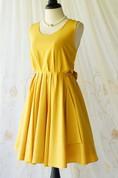 A Line Mustard Backless Dress