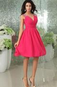 Shining V-Neck Deep Chiffon Pleated Dress With Beaded Strap