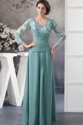 V-Neck Appliqued Chiffon Long Dress with Illusion Neckline