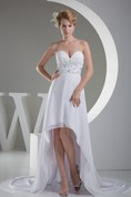 Sweetheart High-Low A-Line Ruched Dress with Beaded Sash