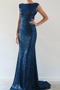 Short Sleeve Sequin Gown Dress