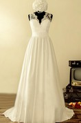 Scalloped Sleeveless Button Back Long Satin Wedding Dress With Flower And Bow