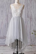 Tea-length V-neck Tulle&Lace Dress