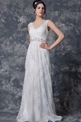 Sleeveless V-neck Pleated Long Lace Dress With Beaded Belt