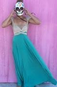 Cap Sleeve Two-Tone Floor-Length Dress