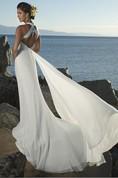 Sheath Column Empire V-neck Chiffon Beach Wedding Dress