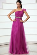Unique A-Line Tulle Asymmetrical One-Shoulder Gown With Crystal Sash
