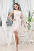 One-Shoulder Sleeveless Midi Dress with Pleats