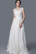 Enchanting Cap Sleeve A-line Lace Gown With Sexy Back