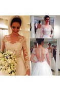 Fabulous Long Sleeve a Line Tulle Gown With Illusion Back