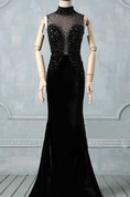 Black Prom Round Neck Prom Black Evening High Neck Formal Detachable Train Custom Size Dress
