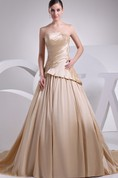 Strapless Pleated A-Line Gown with Ruching and Appliques
