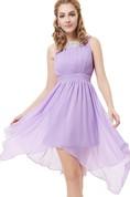 Sleeveless A-line Asymmetrical Dress With Pleats