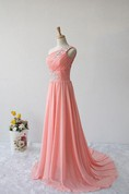One-shoulder Long A-line Chiffon Dress With Appliques And Ruching