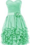 Sweetheart Ruffled Short Dress With Beaded Flower
