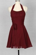 Wine Red Halter Chiffon Bridesmaid Dress