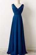 Tea-length V-neck Chiffon Dress With Draping