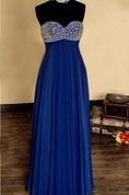 Empire Strapless Sweetheart Chiffon&Satin Dress With Beading&Sequins&Zipper