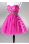 Sweetheart Mini A-line Organza Dress With Beaded Waistline