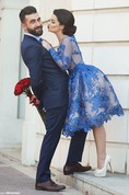 Delicate Ruyal Blue Appliques Prom Dress 2016 Long Sleeve