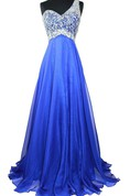 One-shoulder A-line Gown With Sequined Bodice