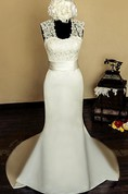 Square Sleeveless Keyhole Back Mermaid Satin Wedding Dress With Sash And Flower