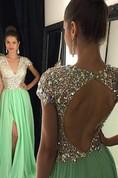 A-Line Princess Short Sleeves V-neck Chiffon Sequin Floor-Length Dresses