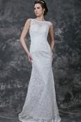 Elegant Cap-sleeve High Neck Sheath Long Lace Dress