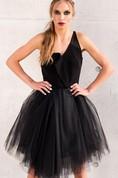 Asymmetric Tulle Little Black Tulle Party Elegant Ball Coctail Dress