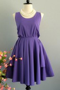 Purple Backless Dress With Low-V Back